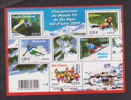 FRANCE / 2009 / Y&T N° 4329/4333 En Bloc ** Ou F4329 ** (BF Champ Monde De Ski à Val D´Isère) - Gomme D´origine Intacte