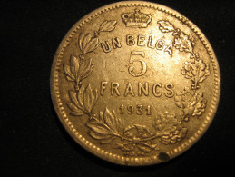 5 Francs (un Belga) 1931 - 1909-1934: Albert I