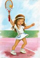 Ilustrateur Constanza Fille Fillette Enfant Avec Raquette Tennis Basket - Kinderen