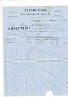 FACTURE 1874 ROUEN COTONS MALATHIRE 34 RUE STANISLAS GIRARDIN POUR MAISON COUTADEUR A ORLEANS - 1800 – 1899