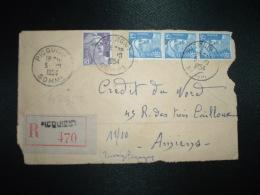 DEVANT LR TP MARIANNE DE GANDON 15F X3 + 5F OBL.5-10-1954 PICQUIGNY SOMME (80) + GRIFFE LINEAIRE