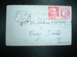LETTRE MIGNONNETTE TP MARIANNE DE GANDON 3F + MAZELIN 1F50 OBL.MEC.6-1-1947 AMIENS-GARE (80) 5EME JOUR TARIF