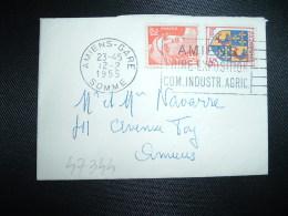 LETTRE MIGNONNETTE TP MARIANNE DE GANDON 12F + BLASON DAUPHNE 3F OBL.MEC.12-2-1955 AMIENS-GARE SOMME (80)