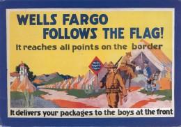 Werbekarte WELLS FARGO FOLLOWS THE FLAG, Karte Gel.m.Sondermarke - Werbepostkarten