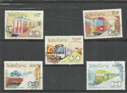 Laos 1342-, Satz Kpl Mit 5 Verschiedenen Lokomotiven, 1993. Gestempelt Mi. 3,70 €