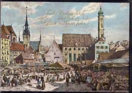 München - Viktualienmarkt Im 19. Jahrhundert   Weihnachtskarte - Muenchen