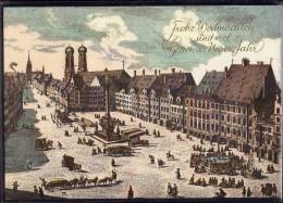 München - Marktplatz Im 17. Jahrhundert   Weihnachtskarte - Muenchen