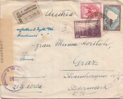 ARGENTINIEN 1946 - 3 Fach Frankierung Auf R-Zensur-FP-Brief Gel.v.Argentinischen Ministerium Buenes Aires Nach Graz ... - Argentinien