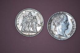 Lots 2 Pièces Argents 5 Francs Français 1813 Napoléon+1848 Liberté égalité Fraternité - J. 5 Francs