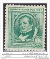 United States 1940, Famous American Author - Washington Irving, MNH
