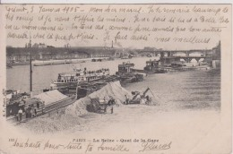 """75 Paris  La Seine """"   Quai De La Gare Dechargement Sable """" B F    N°182 Precurseur - Other Monuments"""