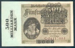 Deutschland, Germany - 500 Mrd. Mark, Reichsbanknote, Ro. 121 A,  ( Serie C ) UNC, 1923 ! - [ 3] 1918-1933 : Weimar Republic