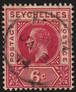 Seychelles 1912-6 SG#73, 6c Carmine Red KGV (Scott 65) Used-F - Seychelles (...-1976)