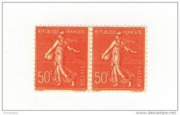 Semeuse Lignée 0fr50 Rouge YT 199 Faux De Marseille En Paire . Rare , Voir Le Scan . Maury N° 199 : 110 € .