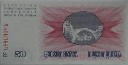Billete Bosnia Herzegovina. 50 Dinara. 1992. Sin Circular - Bosnia Y Herzegovina
