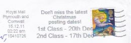 2011 Plymouth GB COVER CHRISTMAS Stamps SLOGAN Pmk DON´T MISS LATEST CHRISTMAS POSTING DATES - Christmas