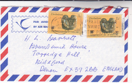1983 Air Mail ZIMBABWE Multi Stamps SCUPLTURE Art SLOGAN Pmk PRESERVE ENVIRONMENT STOP POLUTION - Zimbabwe (1980-...)