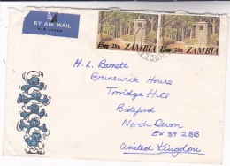 1981 Air Mail ZAMBIA  Stamps COVER Illus THE SMURFS To GB - Zambia (1965-...)