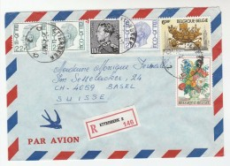 1984 REGISTERED Etterbeek BELGIUM COVER Franked 6 X STAMPS ,  6f FLOWERS 6.50f MONS BERGEN 20f 11f  2x22f - Belgium
