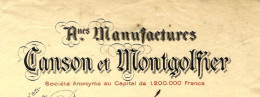 FONDEE XVI° S. ENTETE  MANUFACTURES CANSON ET MONTGOLFIER PAPETERIES DE VIDALON ANNONAY PARIS 1929 - France