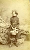 France Paris Jeune Fille Et Panier De Fleurs Ancienne Photo CDV Fontes 1890 - Photos
