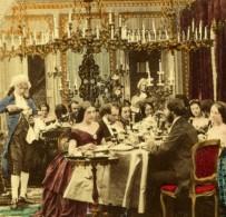 France Paris Scene De Genre Diner Mondain Ancienne Photo Stereo 1860 - Stereoscopic