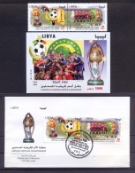 Libya 2014 – FDC + Minisheet + Strip Of 2 Stamps – African  Nations  Championship - Libya