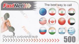 ARMENIA - Flags, FastNet Prepaid Card 500 AMD, Used