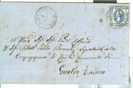 VITTORIO EMANUELE II - C. 15 - 1863- LETTERA TIMBRO POSTE FABRIANO-MARCHE,GUALDO TADINO,