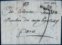 """France 18 Vendémiaire An 11, 10 Otobre 1802, """"28 Morlaix """" à Paris,  """"Deboursé  Bau Du C.L."""" Signée - Postmark Collection (Covers)"""