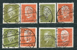 Deutsches Reich 1932, MiNr 465-466 Used (5) - Lot Of 4 Complete Sets, Beautiful Postmarks - Oblitérés