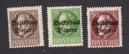 Bavaria, Scott #136-137, 146, Mint Hinged, King Leopold III, Overpritned, Issued 1919 - Bavaria