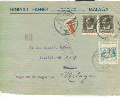 MALAGA -  LETTERA CON ANNULLO MALAGA-1937- CENSURA MILITARE , AFFRANCATURA 1/2- PRO-MALAGA - MALAGA  LIBERADA- - 1931-50 Storia Postale