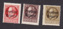 Bavaria, Scott #197, 202, 204, Mint Hinged, King Ludwig III Overprinted, Issued 1919 - Bavière