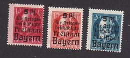 Bavaria, Scott #B1-B3, Mint Hinged, King Ludwig III Surcharged, Issued 1919 - Bavaria