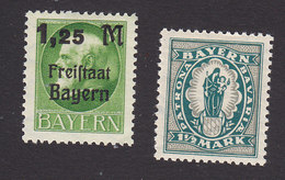 Bavaria, Scott #231, 249, Mint Hinged, King Ludwig III Surcharged, Madonna And Child, Issued 1919-20 - Bavaria