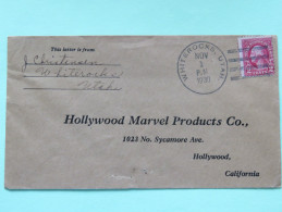 USA 1930 Cover Whiterocks Utah To Hollywood California - Washington - Marvel Products Cinema Adress