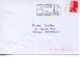 Flamme Eglise Clocher Penché,chateau Solrézis,lettre Obliterée 59 Solre Le Château 13.12.1984