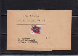 """PREOBLITERE  Blason D'Anjou 4f   Sur  BANDE De JOURNAL  De PARIS 9eme   Entete Pub   """"  DRALUX  """""""