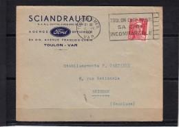 """Lettre De TOULON S/ MER  Le 13 IV 1951 """" TOULON COTE D AZUR ..."""" Envel PUB """"  SCIANDRAUTO Agence FORD - Advertising"""