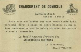 MARCOING  CPA 1902 AMIDONNERIES HOFFMANN INDIQUANT LE TRANSFERT DE LEUR SIEGE SOCIAL - Marcoing