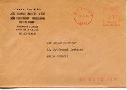 EMA Education,César Baggio,Lycée Technique Industriel,LEP,Institut Diderot,lettre Obliterée Lille Moulins 13.3.1985