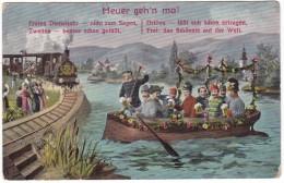 #6521 Militaria, Old Postcard Unused: WW1, Allied Officers In A Boat, Train - Oorlog 1914-18