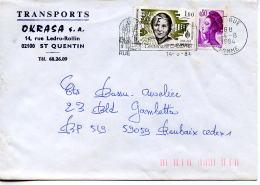 Flamme Chateau,Caudron,B.Albrecht Sur Lettre 80 Rue,Somme,Transport Okrasa SA,02 St Quentin,lettre 1984