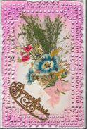 Bonne Année 1912 - Bouquet - Belle Carte Dentelée, En Relief Avec Collage (papier, Tissu, Plantes) - New Year