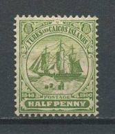 TURKS CAIQUES 1938 N° 136 * Neuf = MH Trace Charnière Bateaux Sailboat Séparation Bahamas Armoiries Coat Of Arms