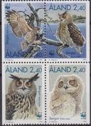 ALAND 1996 WWF BIRDS OWLS EAGLE OWL SET MNH UCCELLI GUFI - W.W.F.