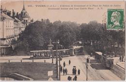 TOURS - L'AVENUE DE GRAMMOND ET LA PLACE DU PALAIS DE JUSTICE - TRAMWAYS - N° 261 - A. P.