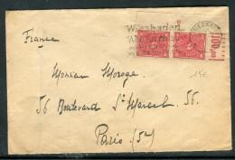 Allemagne - Enveloppe De Wiesbaden Pour La France En 1922 , Affranchissement Paire Coin De Feuille  Réf O 269
