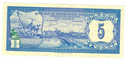 Netherlands Antilles, 5 Gulden 1980, Aunc. Free Economic Ship. To USA - Nederlandse Antillen (...-1986)